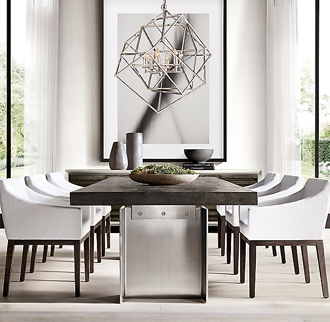 Caged Cubist Pendant - Rh modern dining table