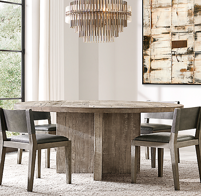 Reclaimed Russian Oak Plank Round, 72 Inch Round Dining Table Reclaimed Wood