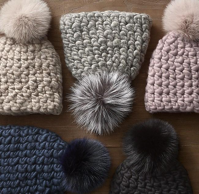 b708d603e3a23 Hand-Spun Chunky Wool Beanie with Fur Pom-Pom by Mischa Lampert