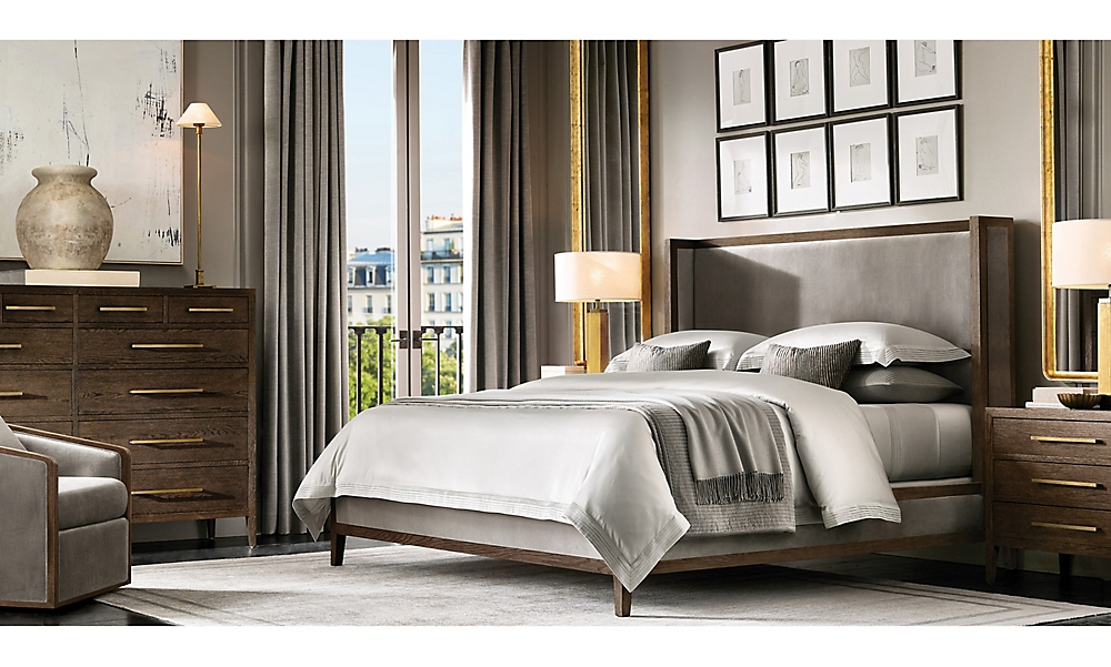 shop French Contemporary Brown Bed
