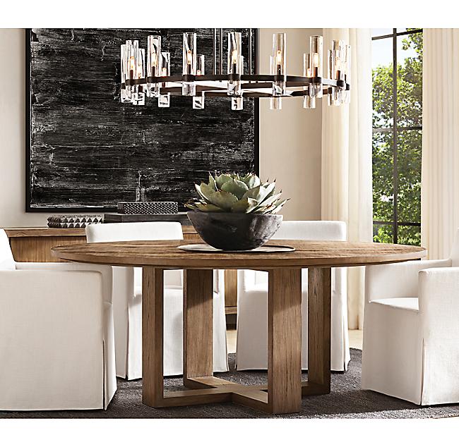 Wyeth Split Bamboo Cross-Base Round Dining Table