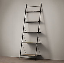 "Reclaimed Elm & Iron 99"" Metal Shelving"