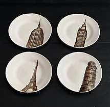 Architectural Landmark Cocktail Plates (Set of 4) - Ivory