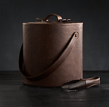 Italian Leather Ice Bucket with Tongs