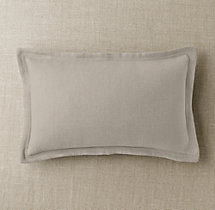 Custom Basket Weave Linen Flanged Lumbar Pillow Cover