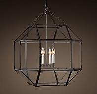 parisian octagonal clear glass pendant
