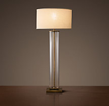 French Column Glass Buffet Lamp