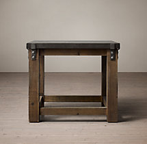 Reclaimed Wood & Zinc Top Side Table