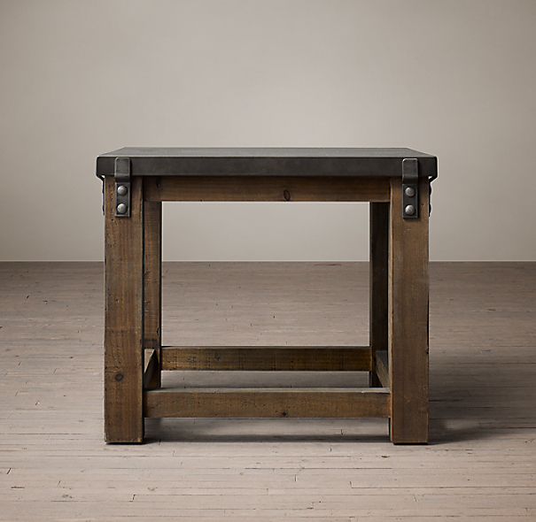 Restoration Hardware Reclaimed Teak Coffee Table: Reclaimed Wood & Zinc Top Side Table