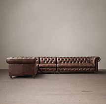 Preconfigured Cambridge Leather L-Sectional