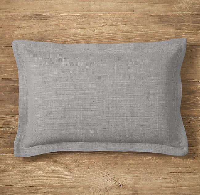 Custom Heavyweight Belgian Linen Flanged Lumbar Pillow Cover