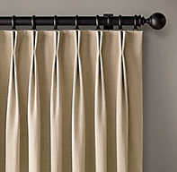 Custom Belgian Textured Linen 2-Fold French-Pleat Drapery