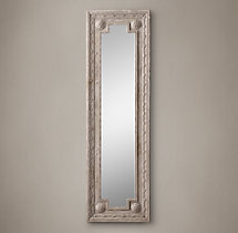 Louis XVI Beaded Leaner Mirror - Taupe