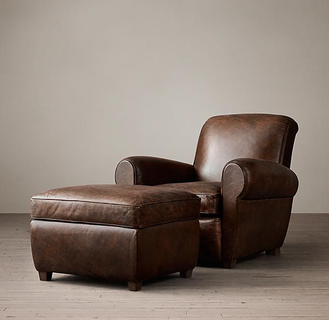 Terrific 1920S Parisian Leather Club Ottoman Alphanode Cool Chair Designs And Ideas Alphanodeonline