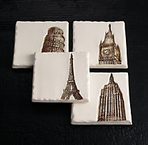 Architectural Landmark Coasters (Set of 4) - Ivory