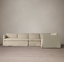 Preconfigured Belgian Classic Shelter Arm Slipcovered L-Sectional