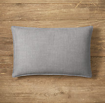 Custom Perennials® Classic Linen Weave Stitched Lumbar Pillow Cover