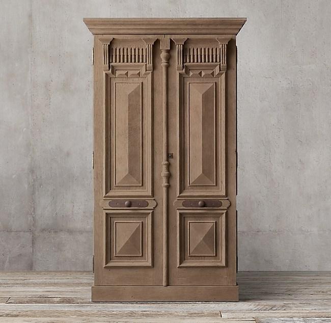 19th C French Carved Door Panel Double Door Cabinet