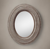 Salvaged Mansard Oval Mirror - Large