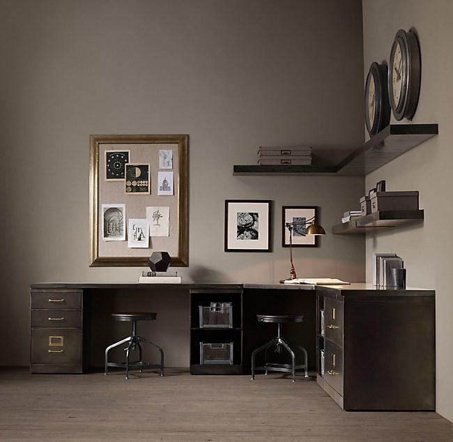 1940s Industrial Modular Office Corner Double Desk System