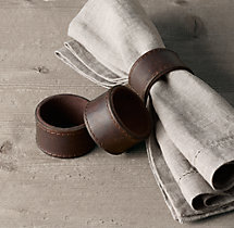 Italian Leather Napkin Rings (Set of 4)