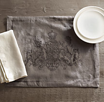 Wentworth Crest Linen Placemats (Set of 4)