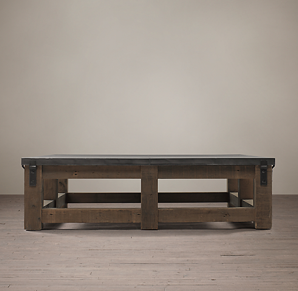 Reclaimed Wood Zinc Top Square Coffee Table