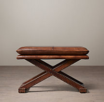 Leather X-Base Stool