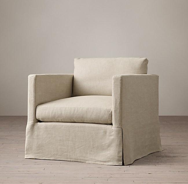 Belgian Classic Shelter Arm Slipcovered Chair