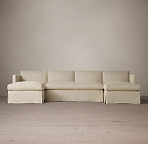 Preconfigured Belgian Classic Shelter Arm Slipcovered U-Chaise Sectional