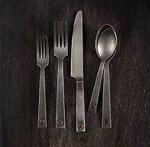 Hammered Steel Rivet 5-Piece Place Setting