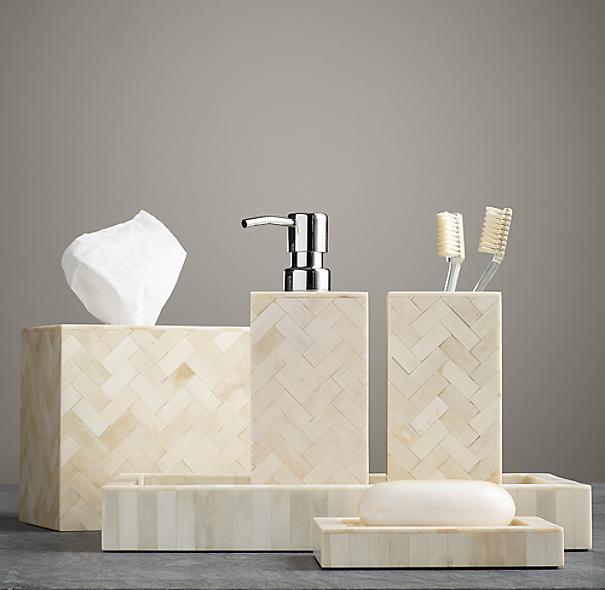 Bone bath accessories natural for Restoration hardware bathroom accessories