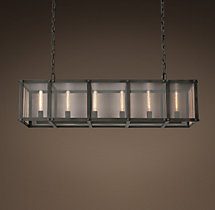 Riveted Mesh Rectangular Chandelier 50""