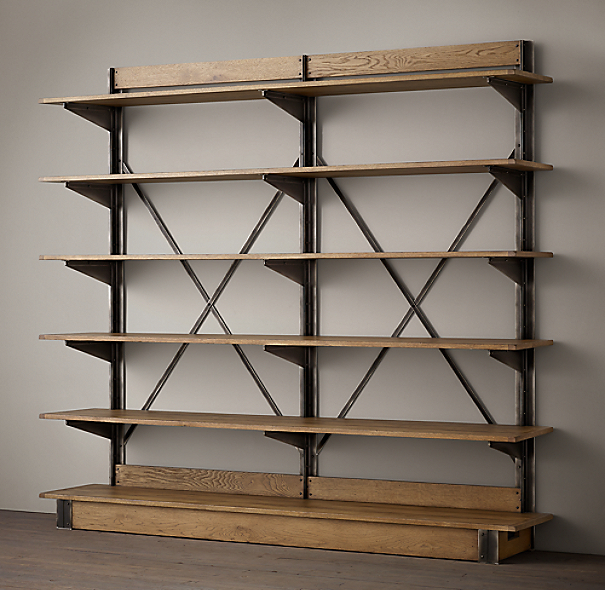oak iron cross brace double shelving. Black Bedroom Furniture Sets. Home Design Ideas
