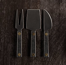 Hammered Steel Rivet 3-Piece Cheese Knives Set