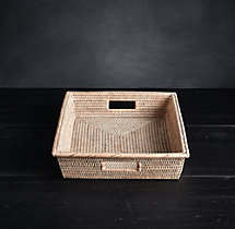 Handwoven Rattan Small Rectangular Tray