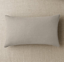 Custom Basket Weave Linen Knife-Edge Lumbar Pillow Cover