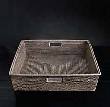Handwoven Rattan Large Rectangular Tray