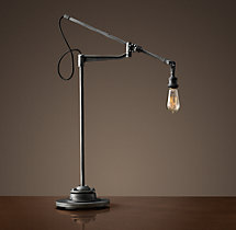 20Th C. Factory Filament Bare Bulb Task Lamp