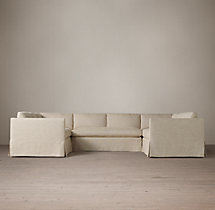Belgian Classic Shelter Arm Slipcovered U-Sofa Sectional