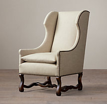 French Baroque Upholstered Wing Chair