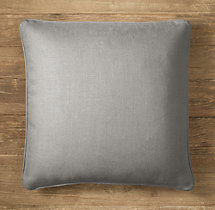 Custom Belgian Textured Linen Piped Square Pillow Cover