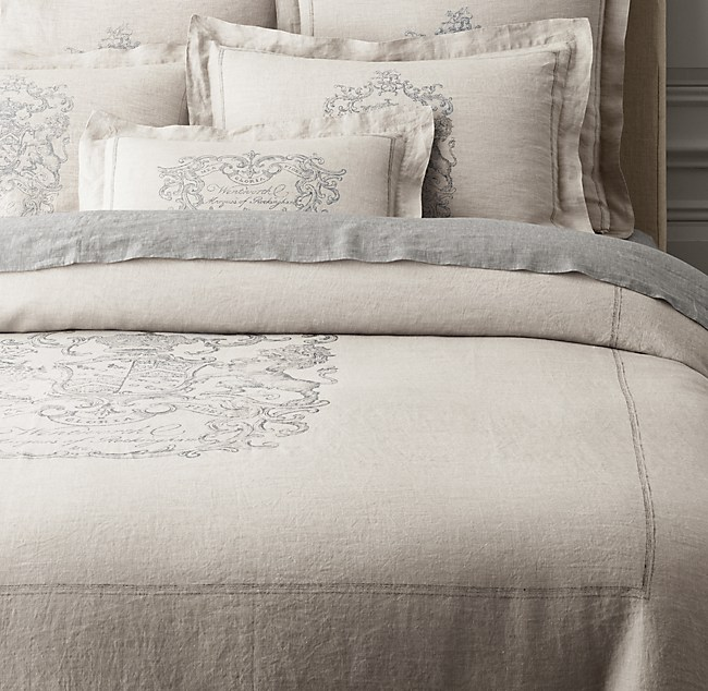 Wentworth Crest Vintage Washed Belgian Linen Duvet Cover