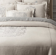 Wentworth Crest Vintage-Washed Belgian Linen Duvet Cover
