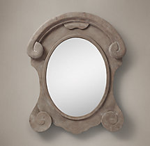 Salvaged Mansard Scroll Mirror Natural - XL