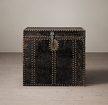 19th C. Leather Carriage Trunk Side Table