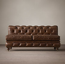 Petite Kensington Leather Armless Sofa