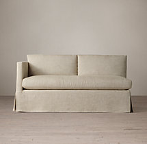 Belgian Classic Shelter Arm Slipcovered Left-Arm Sofa