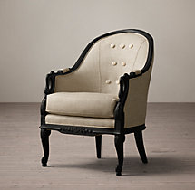 Barrel-Back Upholstered Swan Chair