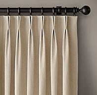 Custom Belgian Heavyweight Linen 2 Fold French Pleat Drapery